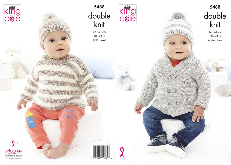 King Cole 5488 Babies Jacket, Striped Cardigan and Hat Double Knitting Pattern