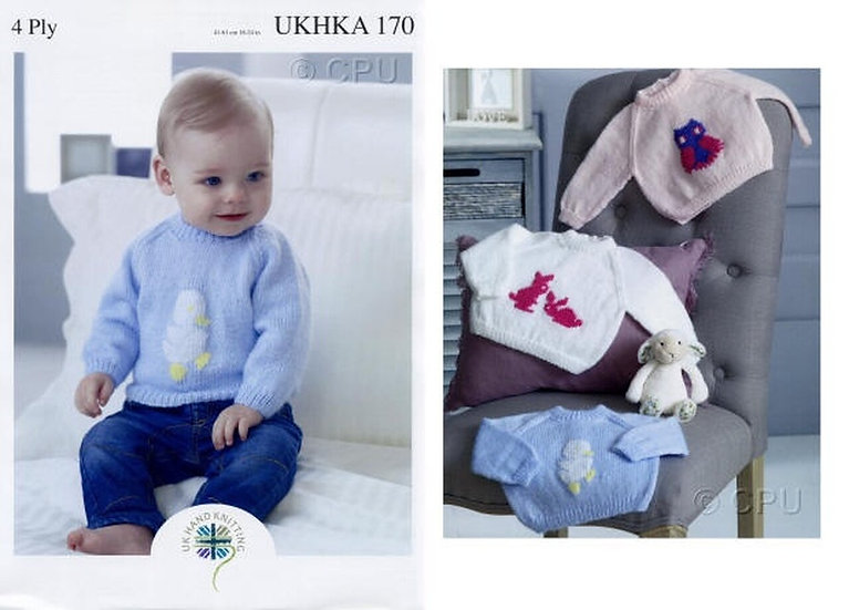 UKHKA 170 Babies Duck, Bunnies and Owl Motif Sweater 4Ply Knitting Pattern