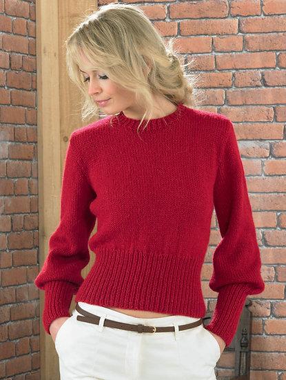 James C. Brett JB222 Ladies Peasant Sleeve Sweater Aran Knitting Pattern