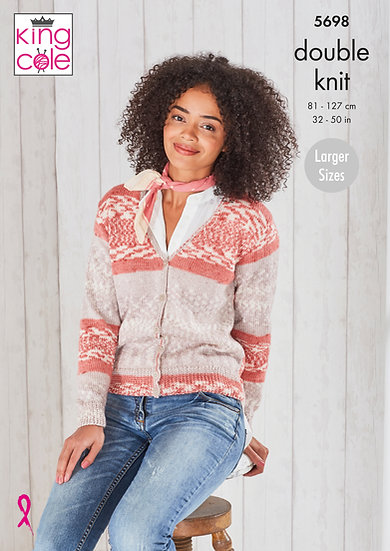 King Cole 5698 Ladies V-Neck Cardigan and Waistcoat Double Knitting Pattern