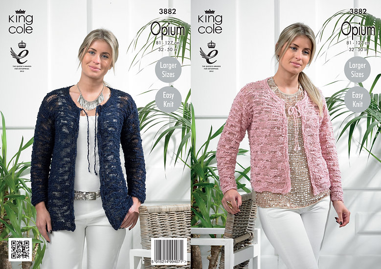 King Cole 3882 Opium Easy Knit Tie Front Cardigans Knitting Pattern