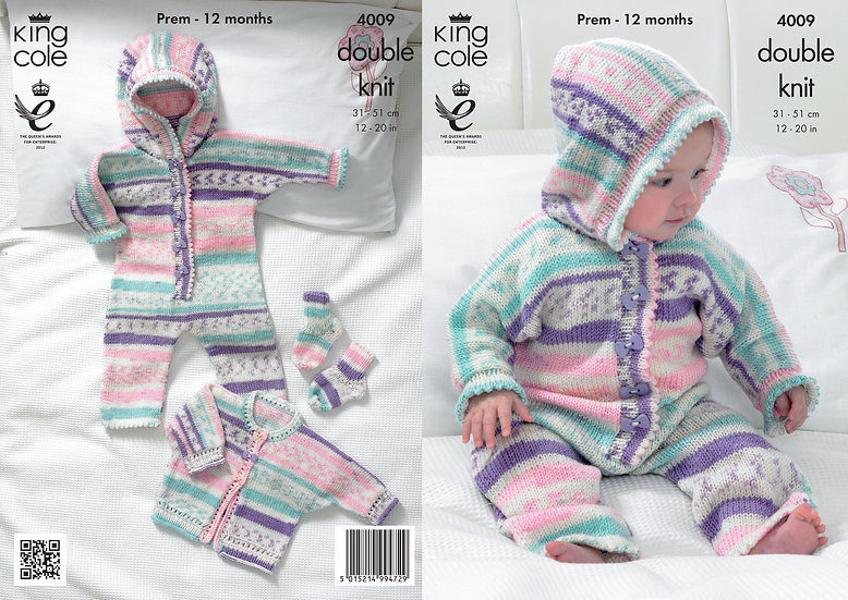King Cole 4009 Babies All-in-one Romper, Jacket and Socks Double Knit Pattern