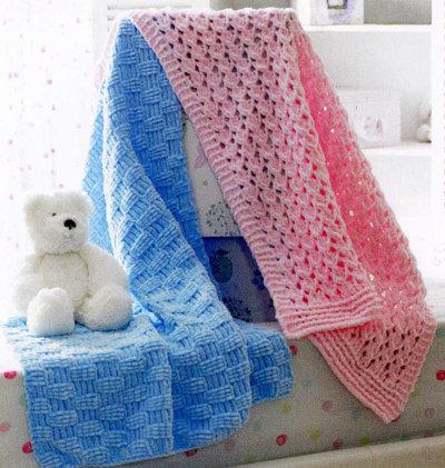James C. Brett JB173 Babies Chunky Lace and Basketweave Blanket Knitting Pattern
