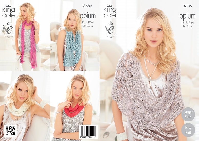 King Cole 3685 Opium Scarf, Snood, Wrap and Shawl Knitting Pattern