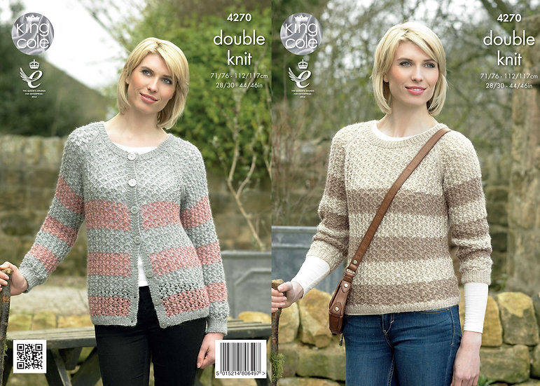 King Cole 4270 Ladies Lace Striped Sweater and Cardigan Double Knitting Pattern