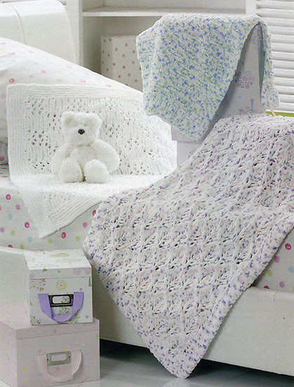 James C. Brett JB197 Babies Chunky Lace and Textured Blankets Knitting Pattern