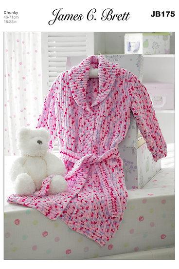 James C. Brett JB175 Babies and Childrens Chunky Dressing Gown Knitting Pattern