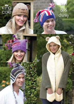 King Cole 3441 Funky Hats and Scarf Double Knit and Chunky Pattern
