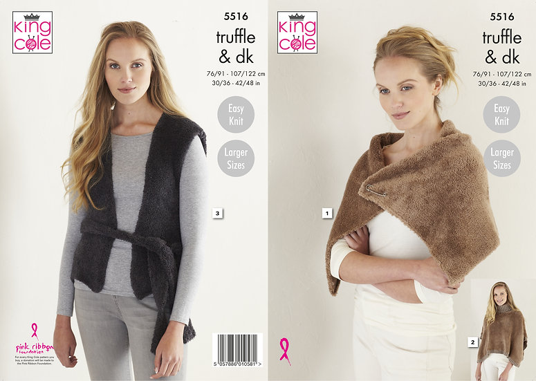 King Cole 5516 Wrap, Poncho and Tabbard Double Knit Pattern