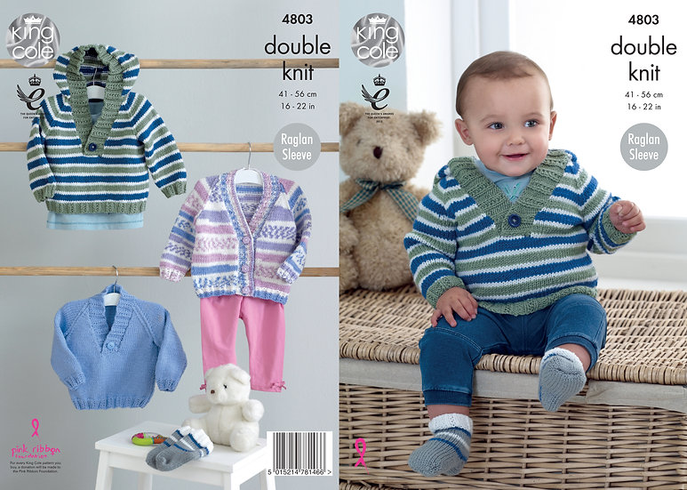 King Cole 4803 Babies Sweater, Cardigan and Socks Double Knitting Pattern