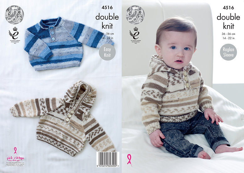 King Cole 4516 Babies Raglan Sweater Double Knitting Pattern