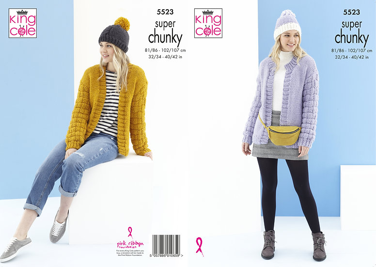 King Cole 5523 Super Chunky Cardigans and Hats Knitting Pattern
