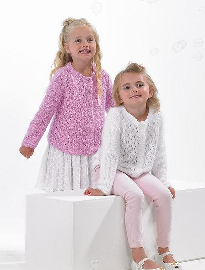James C. Brett JB538 Bubbalicious Children's Lacy Double Knit Cardigan Pattern