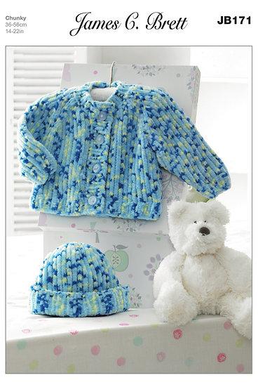 James C. Brett JB171 Babies Chunky Jacket and Hat Knitting Pattern