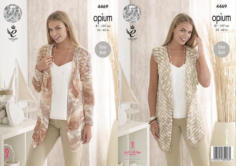 King Cole 4469 Opium Waterfall Cardigan and Waistcoat Knitting Pattern