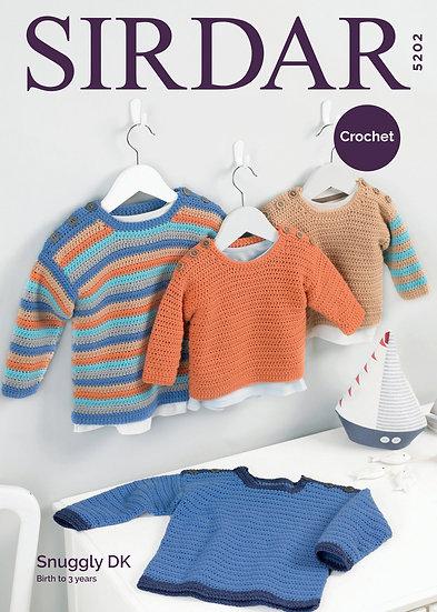 Sirdar 5202 Babies Crochet Sweater Double Knit Pattern