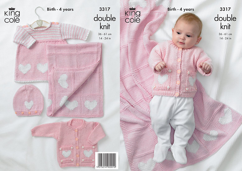 King Cole 3317 Babies Hearts Dress, Cardigan and Blanket Double Knitting Pattern