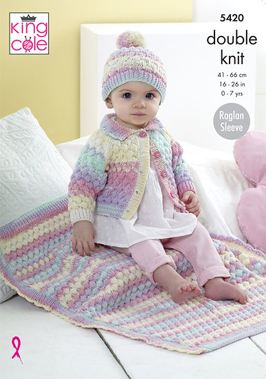 King Cole 5420 Babies Bubbles Cardigan, Hat and Blanket Double Knitting Pattern