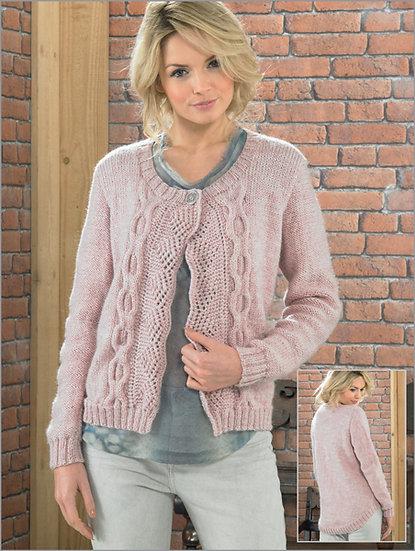 James C. Brett JB221 Ladies Elegant Cable Cardigan Aran Knitting Pattern