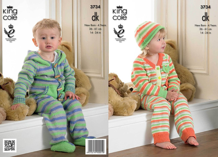 King Cole 3734 Babies Striped Onesie All-in-One Romper Double Knitting Pattern
