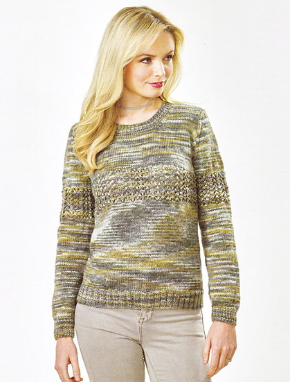 James C. Brett JB474 Lace Panel Sweater Double Knitting Pattern