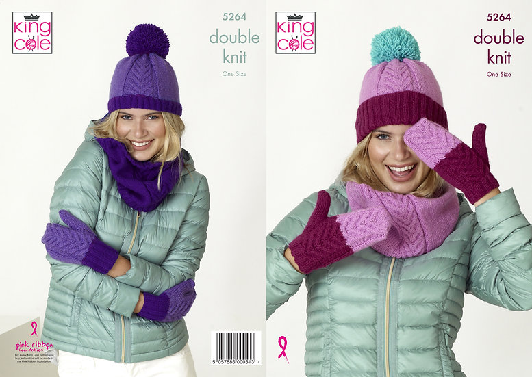 King Cole 5264 Snood, Mittens and Hat Double Knit Pattern