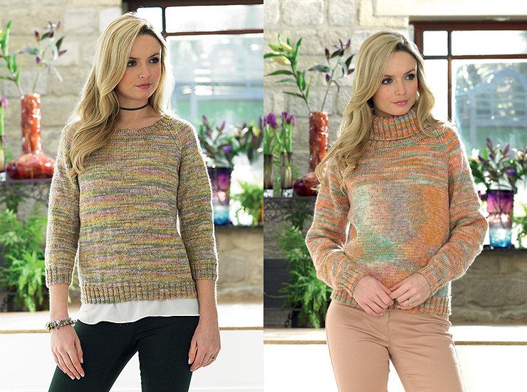 James C. Brett JB414 Raglan and Roll Neck Sweater Double Knitting Pattern