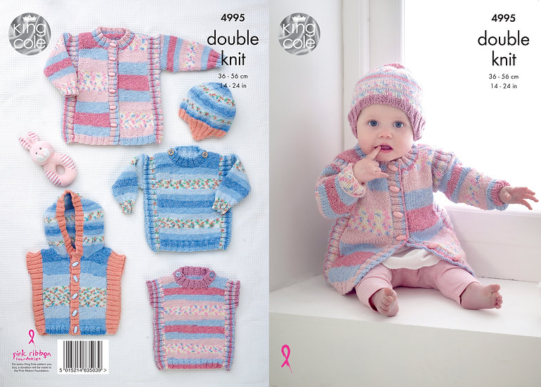 King Cole 4995 Babies Coat, Sweater, Tabard and Gilet Double Knitting Pattern