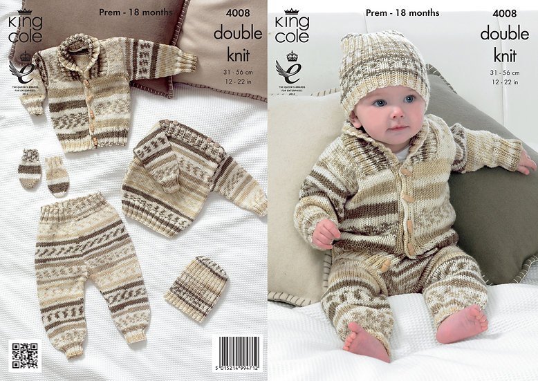 King Cole 4008 Babies Jacket, Leggings, Hat and Mittens Set Double Knit Pattern