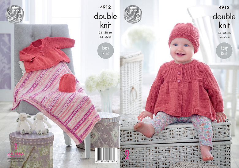 King Cole 4912 Babies Jacket, Hat and Blanket Double Knitting Pattern