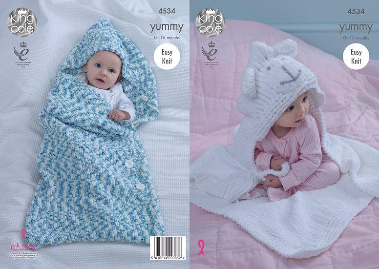 King Cole 4534 Babies Hooded Animal Sleeping Bag & Blanket Knitting Pattern