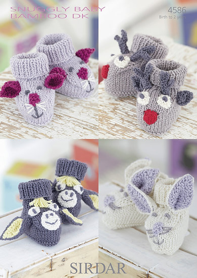 Sirdar 4586 Babies Animal Booties Rudolph, Donkey, Mouse & Bunny DK Pattern