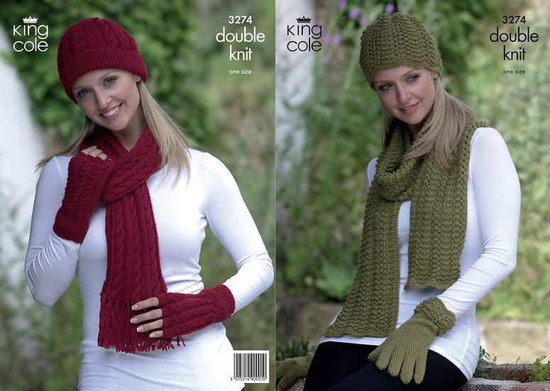 King Cole 3274 Hat, Scarves and Gloves Double Knit Pattern