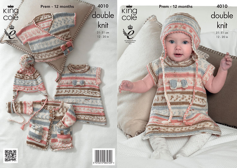 King Cole 4010 Babies Tunic, Cardigans and Hat Double Knitting Pattern