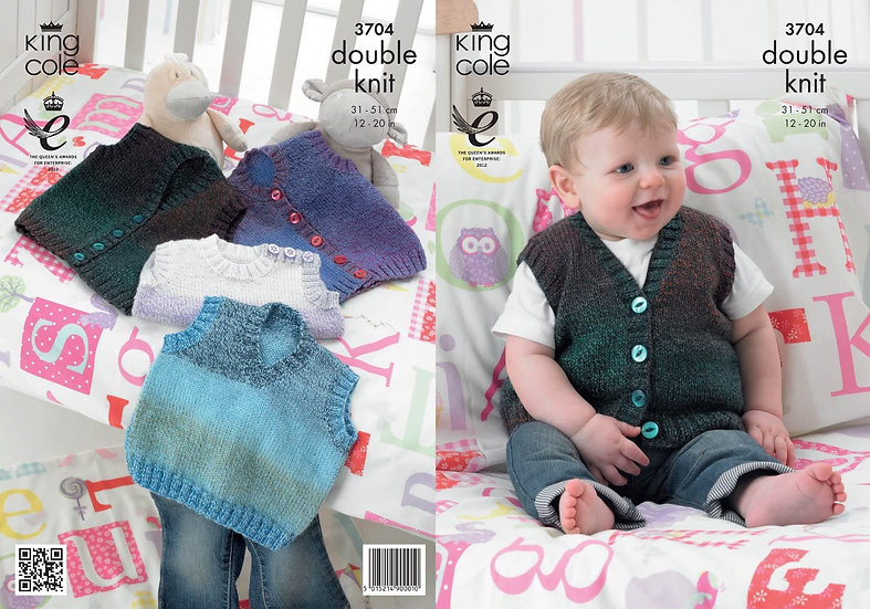 King Cole 3704 Babies Waistcoat Slipover Tank Top Double Knitting Pattern