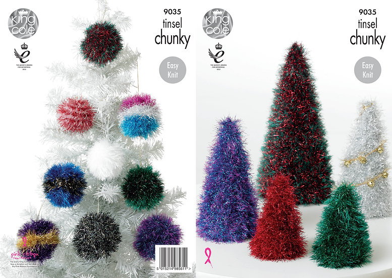 King Cole 9035 Christmas Trees and Baubles in Tinsel Chunky Pattern