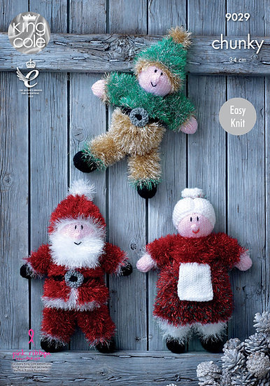 King Cole 9029 Santa Clause, Mrs Clause and Elf in Tinsel Chunky Pattern