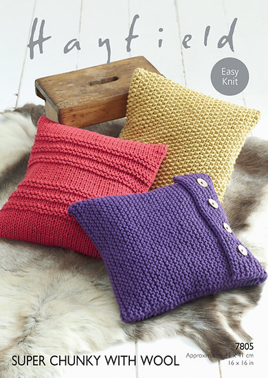 Hayfield 7805 Easy Knit Cushion Covers Super Chunky Knitting Pattern