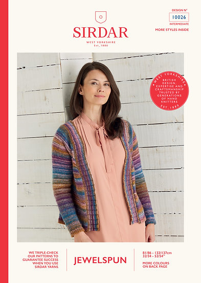 Sirdar 10026 Open Front Aran Cardigan Knitting Pattern