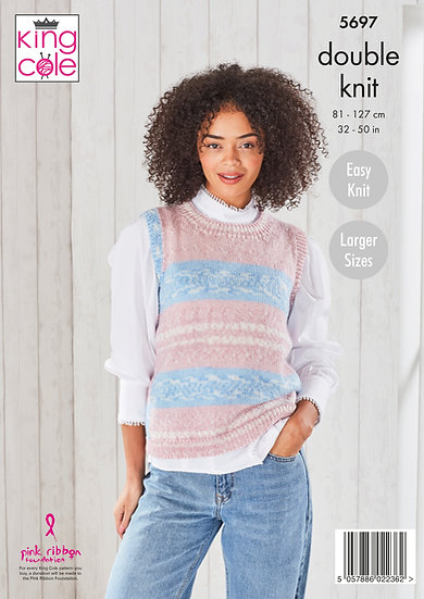 King Cole 5697 Ladies V and Round Neck Tank Top Double Knitting Pattern