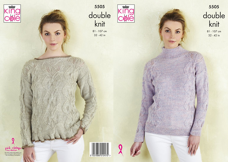 King Cole 5505 Ladies Leaf Pattern Sweaters Double Knitting Pattern