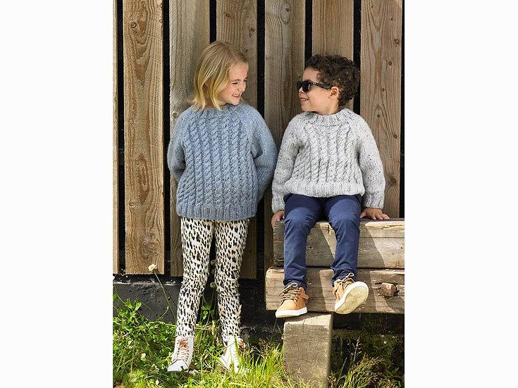 James C. Brett JB642 Childrens Chunky Cable Sweater Knitting Pattern