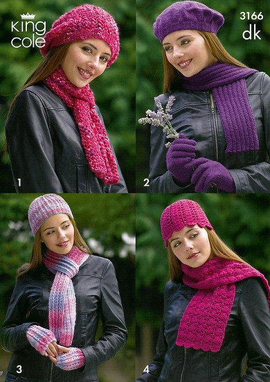 King Cole 3166 Hats, Scarves and Gloves Knitting and Crochet Double Knit Pattern