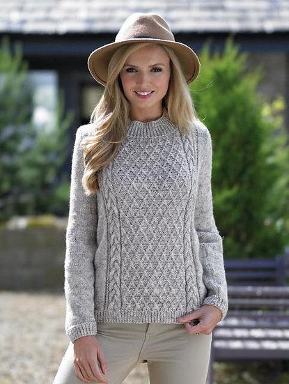 James C. Brett JB394 Diamond Cable Sweater Double Knitting Pattern