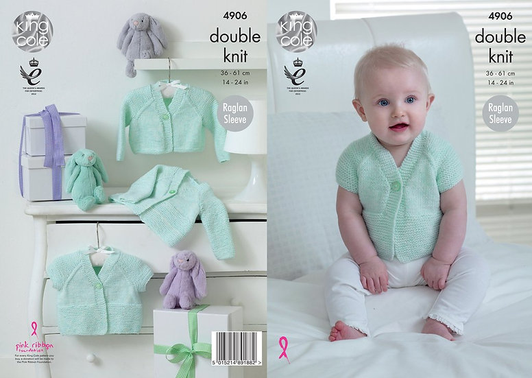 King Cole 4906 Babies Raglan Long and Short Sleeve Cardigans Double Knit Pattern