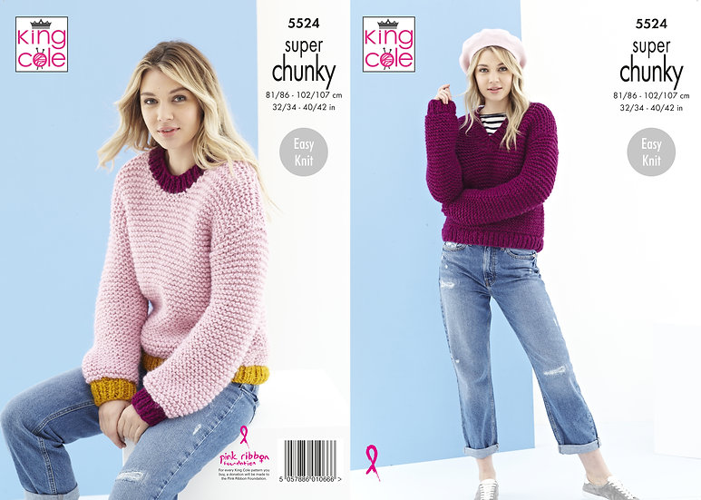 King Cole 5524 Super Chunky Easy Knit Sweater Jumper Pattern