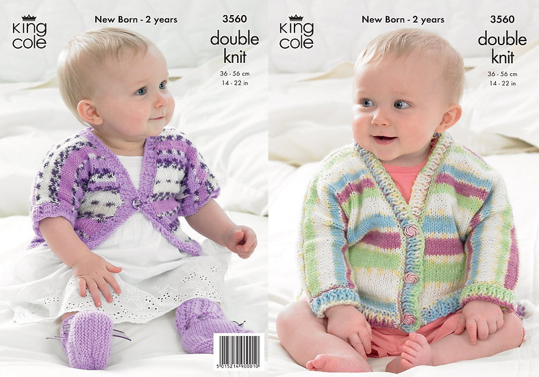 King Cole 3560 Babies Long Sleeved and Short Sleeve Cardigan and Booties Pattern