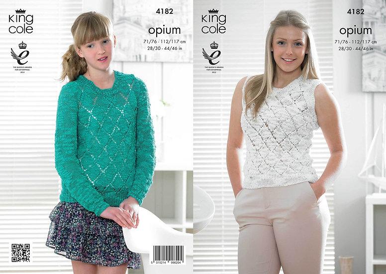 King Cole 4182 Opium Ladies & Teens Diamond Sweater & Slipover Tank Top Pattern