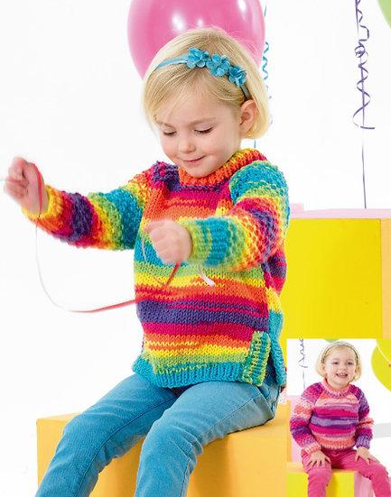 James C. Brett JB340 Children's Chunky Sweater with Moss Stitch Sleeves Pattern