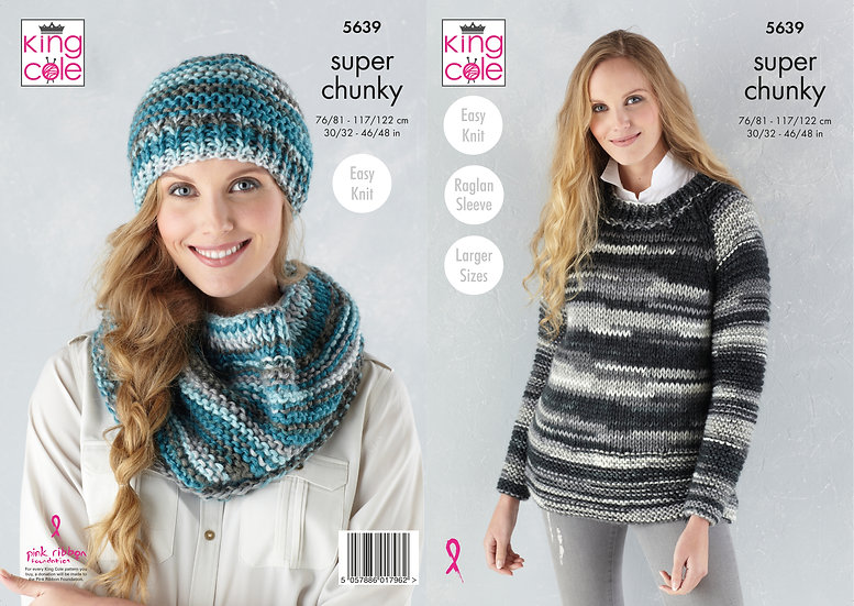 King Cole 5639 Super Chunky Hat, Snood and Round Neck Jumper Knitting Pattern